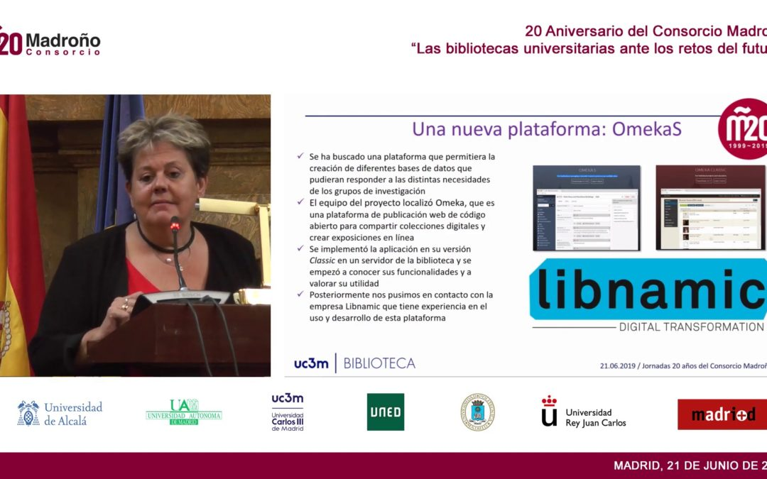 Teresa Malo de Molina talks about Libnamic at the Madroño Consortium 20th Aniversary event, in Madrid