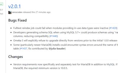 Released Omeka S 2.0.1